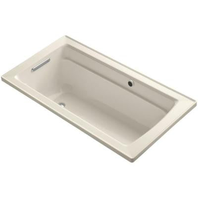 Archer 5 ft. Reversible Drain Soaking Tub in Almond with Bask Heated Surface