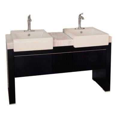 Crawley 58 in. W Double Vanity in Black with Marble Vanity Top in White