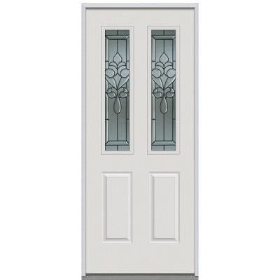 32 in. x 80 in. Fontainebleau Decorative Glass 2 Lite 2 Panel Primed White Steel Replacement Prehung Front Door