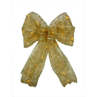 9 in. 36-Light Battery Operated LED Gold Everyday Bow