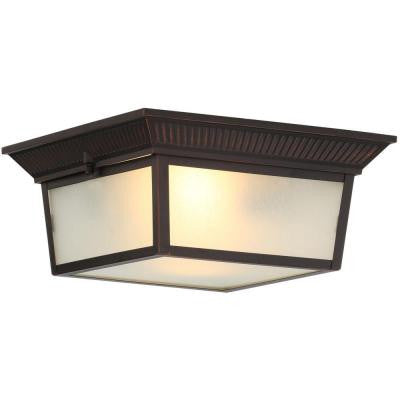 2-Light Indoor/Outdoor Oil Rubbed Bronze Flushmount