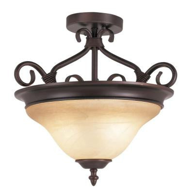 Cabernet Collection 2-Light Oiled Bronze Semi-Flush Mount Light with Tea Stained Shade