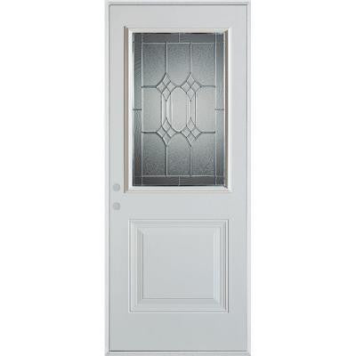 32 in. x 80 in. Orleans Zinc 1/2 Lite 1-Panel Prefinished White Right-Hand Inswing Steel Prehung Front Door