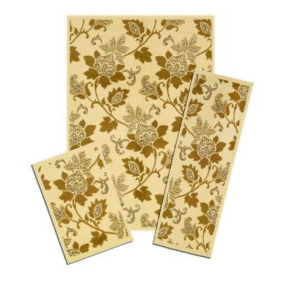 Floral Whisper 3 Piece Set Contains 5 ft. x 7 ft. Area Rug, Matching 22 in. x 59 in. Rug Runner and 22 in. x 31 in. Mat