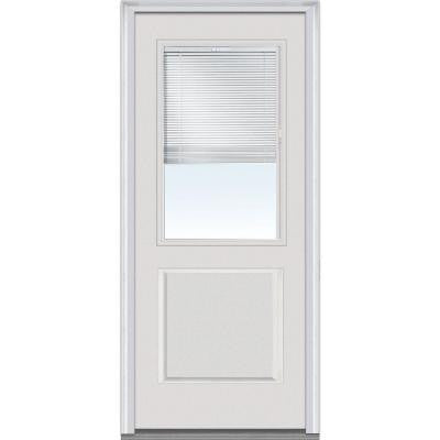 36 in. x 80 in. Internal Mini Blinds Clear Glass 1/2 Lite 1-Panel Primed White Fiberglass Smooth Prehung Front Door
