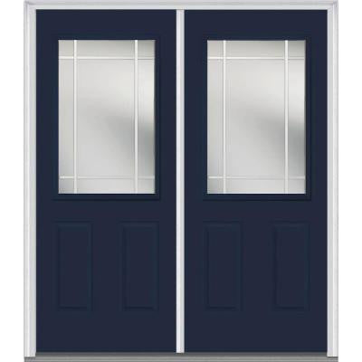 72 in. x 80 in. Classic Clear Glass PIM 1/2-Lite Painted Fiberglass Smooth Double Prehung Front Door