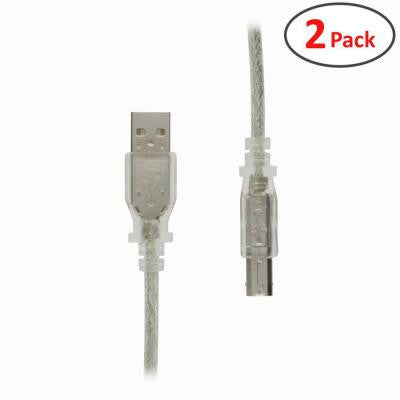 10 ft. Hi-Speed USB 2.0 Type A Male to Type B Male Cable for Printer/Scanner with Lifetime Warranty (2-Pack)