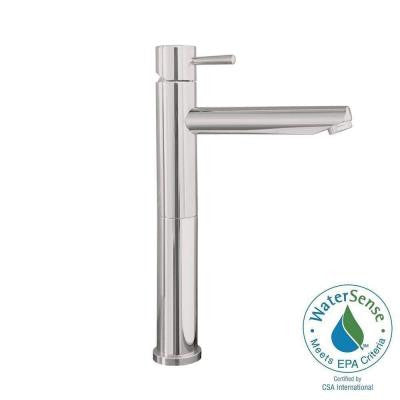 Serin Single Hole Single Handle Mid-Arc Bathroom Vessel Faucet with Grid Drain in Satin Nickel