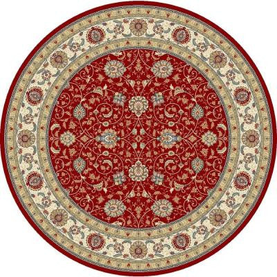 Vaughan Red/Ivory 5 ft. 3 in. x 5 ft. 3 in. Round Indoor Area Rug