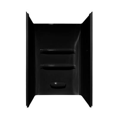 Elite 34 in. x 48 in. x 69 in. 3-Piece Direct-to-Stud Shower Wall Kit in Black