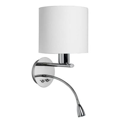 Analisa 1-Light Polished Chrome LED Sconce with Cream Fabric Shades