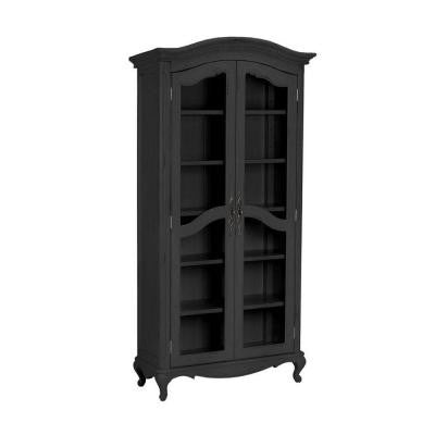 Provence 6-Shelf Glass Bookcase in Black