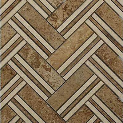 Boost Travertine with Beige Line Marble Mosaic Tile - 3 in. x 6 in. Tile Sample