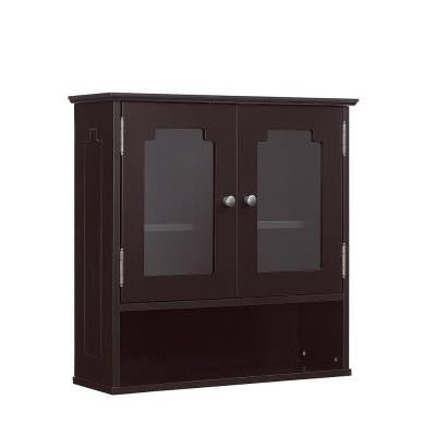 23.625 in. W x 7.875 in. D x 23.625 in. H Wall Cabinet with Glass Doors in Espresso