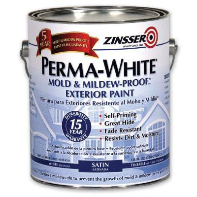 1 gal. Perma-White Mold and Mildew-Proof White Satin Exterior Paint (Case of 4)