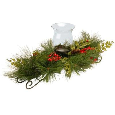 30 in. Mixed Bristle Pine Candle Holder