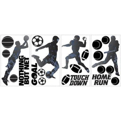 5 in. x 11.5 in. Sports Silhouettes Peel and Stick Wall Decal