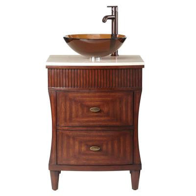 Fuji 24 in. Vanity in Old Walnut with Marble Vanity Top in Cream and Brown Glass Basin