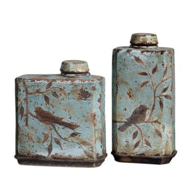 Sky Blue Ceramic Decorative Containers (Set of 2)