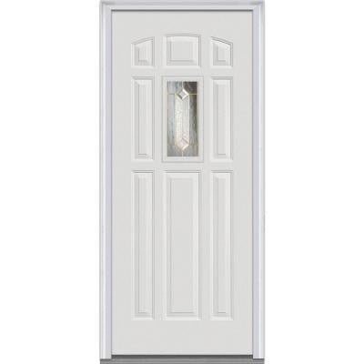 36 in. x 80 in. Majestic Elegance Decorative Glass 1/4 Lite Primed Builder's Choice Steel Prehung Front Door - White
