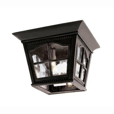 Bostonian 3-Light Outdoor Black Flush Mount Fixture with Water Glass