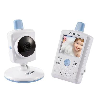 Wireless Indoor Dome Shaped Digital Video Baby Monitor with Touchscreen LCD - White/Blue