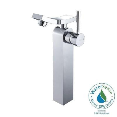 Unicus Single Hole 1-Handle Mid-Arc Bathroom Vessel Faucet in Chrome