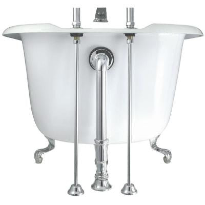 24 in. Brass Straight Bath Supply in Satin Nickel