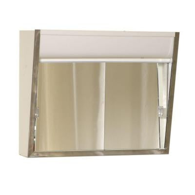 Premium Lighted Sliding Door 24 in. x 20 in. Surface-Mount Medicine Cabinet in Chrome