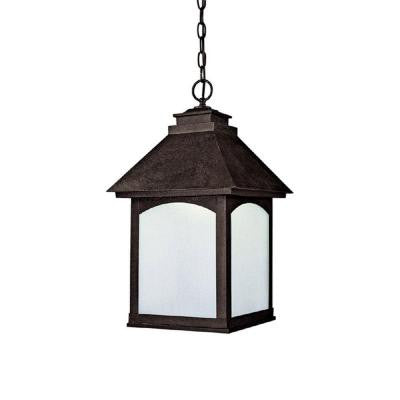 1-Light Rustic Iron Frosted Seeded Glass Outdoor Fixture