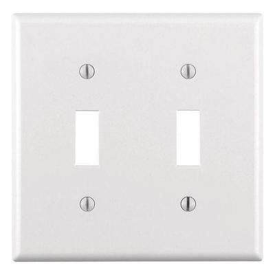 2-Gang Toggle Wall Plate - White