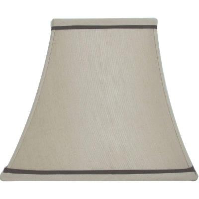 Mix & Match Beige with Brown Trim Square Bell Table Shade