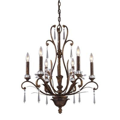 Emilion 6-Light Burnt Bronze Ceiling Mount Chandelier