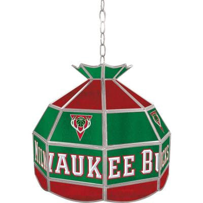 Milwaukee Bucks NBA 16 in. Nickel Hanging Tiffany Style Lamp