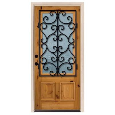 36 in. x 80 in. Decorative Iron Grille 3/4- Lite Stained Knotty Alder Wood Prehung Front Door