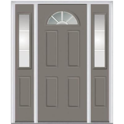 64 in. x 80 in. Classic Clear Glass GBG 1/4-Lite Painted Fiberglass Smooth Prehung Front Door with Sidelites