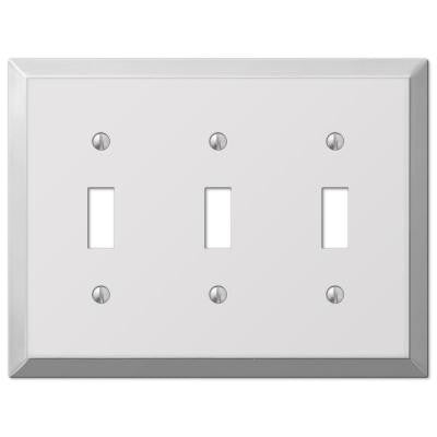 Steel 3 Toggle Wall Plate - Chrome