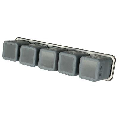 5 Magnetic Canisters with Storage Bar