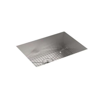 Vault Top-Mount/Undermount Stainless Steel 25 in. 4-Hole Single Bowl Kitchen Sink with Bottom Basin Rack