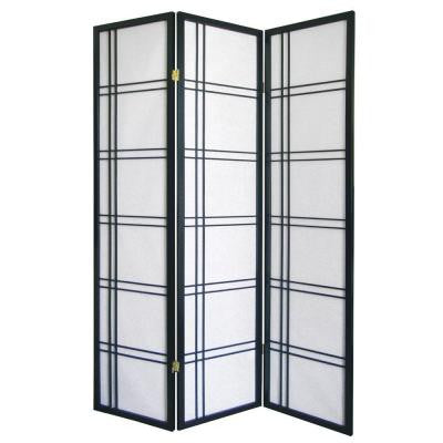 Girard 3-Panel Natural-Fiber Room Divider in Black