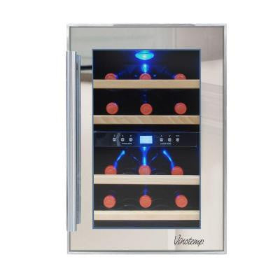 19.75 in. 12-Bottle Dual-Zone Thermoelectric Mirrored Wine Cooler