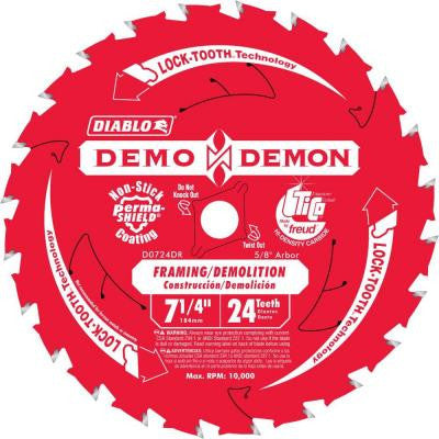 7-1/4 in. x 24-Tooth Demo Demon Framing/Demolition Saw Blade