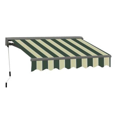 10 ft. Classic C Series Semi-Cassette Electric w Remote Retractable Patio Awning (98 in. Projection) Green/Cream Stripes