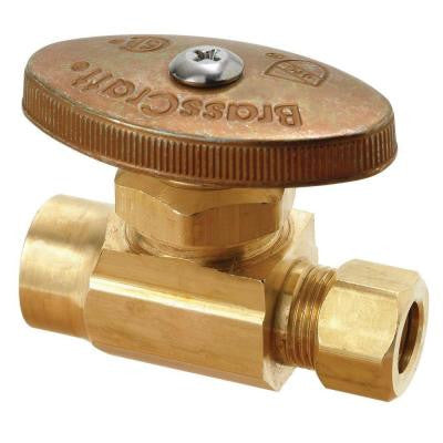 1/2 in. Nominal Sweat Inlet x 3/8 in. O.D. Compression Outlet Brass Multi-Turn Straight Valve (5-Pack)