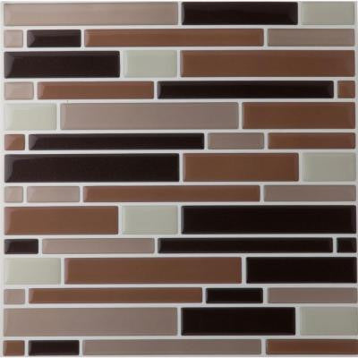9.125 in. x 9.125 in. Magic Gel Mosaic Decorative Wall Tile in Coffee and Beige Piano