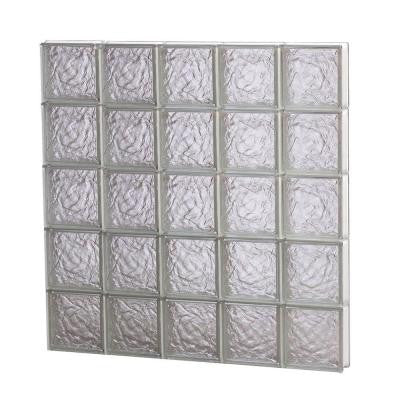 38.75 in. x 38.75 in. x 3.125 in. Non-Vented Ice Pattern Glass Block Window