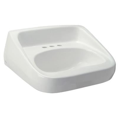 High Back Standard Wall-Mounted Bathroom Sink in White