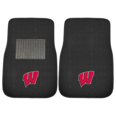 NCAA University of Wisconsin 2-Piece 17 in. x 25.5 in. Carpet Embroidered Car Mat
