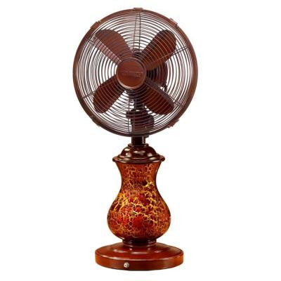 10 in. Rustic Crackle Table Fan