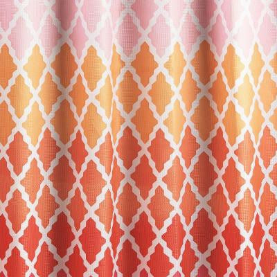 Diamond Weave Textured 70 in. W x 72 in. L Shower Curtain with Metal Roller Rings in Gateway Lattice Pink